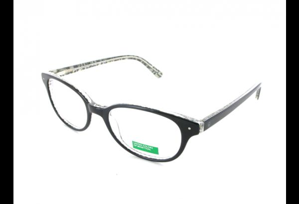 lunettes de vue pour femme BENETTON Noir Blanc BN 196 NOIR 51/18 OVALE