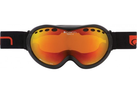 Masque de ski mixte CAIRN Noir Mat OPTICS D OTG Noir Mat/Miroir Orange SPX 3000